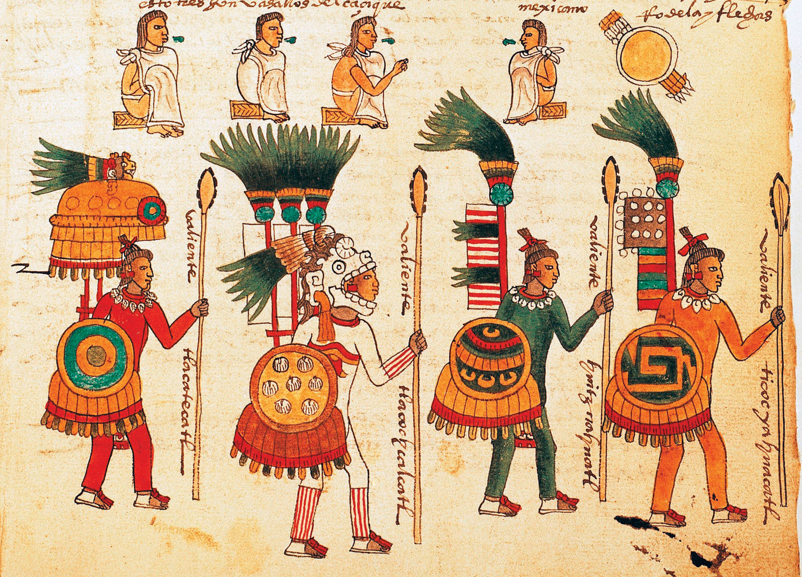 Reproduction-page-illustration-warriors-shields-Aztec-Codex - Britannica